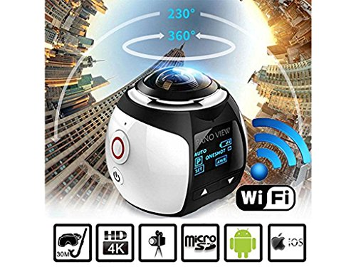 StillCool VR Actionkamera 360 Grad Panorama , Sport DV 4K 30FPS WiFi Mini 3D VR Action Kamera,Wasserdicht 30M 230° Winkelobjektiv Outdoor Home Tauchen Auto-Recorder DV Player Videokamera mit Zubehör