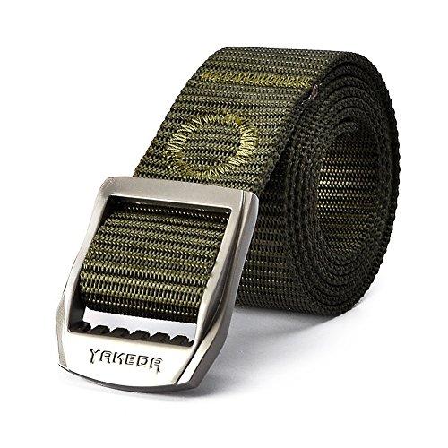 YAKEDA® Tactical Gürtel Nylon-Netz-Gurt Multifunktions- Notrettungs Gürtel Einstellbare Überlebens -Gurt für Outdoor, Pflicht, Operator, Trainer -C88040 (Army Green)