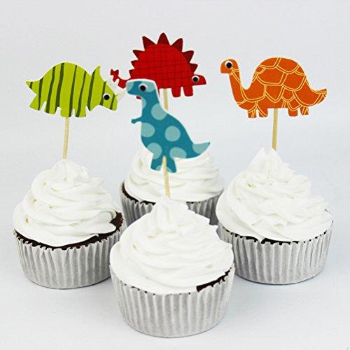 bestomz 24figuras de dinosaurios dinosaurio diseño de Par de alimentos, frutas decoración para tarta favor Decor