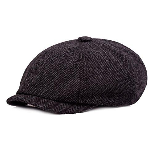 HowYouth® Herren Die Traditionelle Schirmmütze 8 Paneel Wollmischung Tweedkappe Flach Gatsby Baker Junge Unisex Hut (Dunkelgrau)