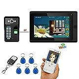 XH Sonnette de téléphone vidéo WiFi de 7 po, système d'interphone avec Mot de Passe RFID à Empreinte Digitale Filaire/sans Fil, caméra de Vision Nocturne câblée 1000TVL, d'application à Distance