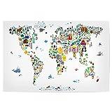 artboxONE Poster 60x40 cm Animal Map of The World White von Künstler Michael Tompsett