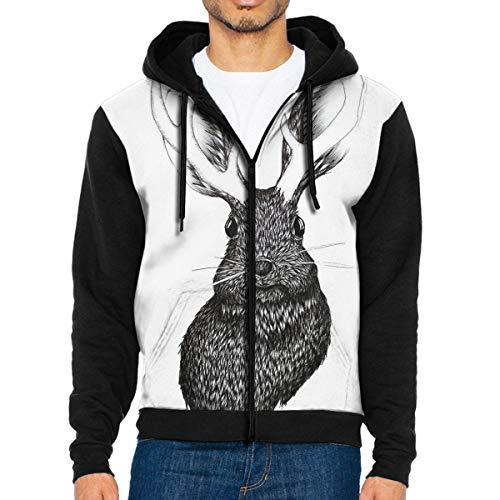 Nicegift The Jackalope Men's Full-Zip Hoodie Jacket Sweatshirt M Youth Full Zip Lightweight Jacket