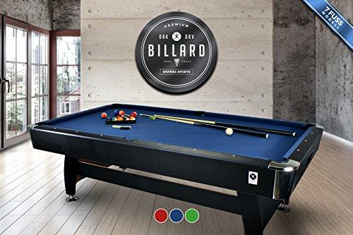 """Miweba Billardtisch 7 Ft """"Deluxe Edition"""" Korpus schwarz 3 verschiende Tuchfarben massiv inklusive Zubehör (2x Queue, Kugelset, Dreieck, Kreide, Bürste) Pool Billard 7 Fuß (Blau)"""
