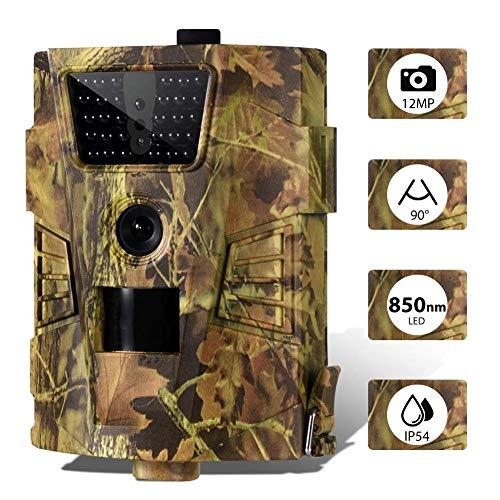 ICamera Wildlife-Kamera Voll-Infrarot-LED-Rückfahrkamera wasserdichte Infrarot-Bewegungsmelder-Fotofalle-Rückfahrkamera für Außen- und Haussicherheitsüberwachung 12MP 1080P 90 ° Weitwinkel
