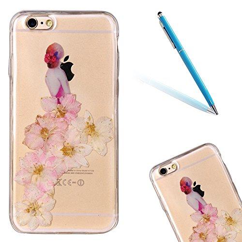 """iPhone 6sPlus Schutzhülle, iPhone 6Plus Soft TPU Handytasche, CLTPY Modisch Durchsichtige Rückschale im Getrocknete Blumenart, [Stoßdämpfung] & [Kratzfeste] Full Body Case für 5.5"""" Apple iPhone 6Plus/ Floral 22"""