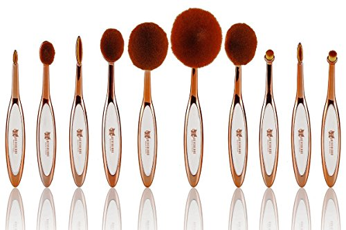 10pcs Deluxe Rose Gold Toothbrush Elite Make-up Brushes Set Powder Foundation Contour with Case Box