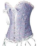 PhilaeEC Women's Plus Size Bridal Lingerie Lace up Satin Boned Corset + G-string (Blue, S)