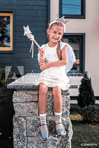druck-shop24 Wunschmotiv: Beaming Girl. Cute Beaming Girl Wearing Fairy Wings and Holding Magic Wand Having Fun Walking Outside #230450976 - Bild als Klebe-Folie - 3:2-60 x 40 cm / 40 x 60 cm