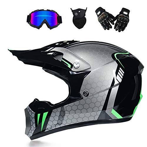 Adult Motocross Helmet Off Road Motorcycle Helmet ATV Cross DOT Helme Motorrad Crossbike Enduro Sport mit Handschuhen Sturm Maske und Gläser (6 Stil),pink,S (Pink Helm Motorrad)
