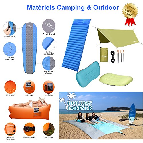 51dmLVpNWBL. SS500  - iNeibo Ultralight Self Inflating Sleeping Pad with Free Pump Pillow - Inflatable Mat Air Mattress for Backpacking, Camping and Hiking, Easy to Carry and Fast Inflate (Blue)