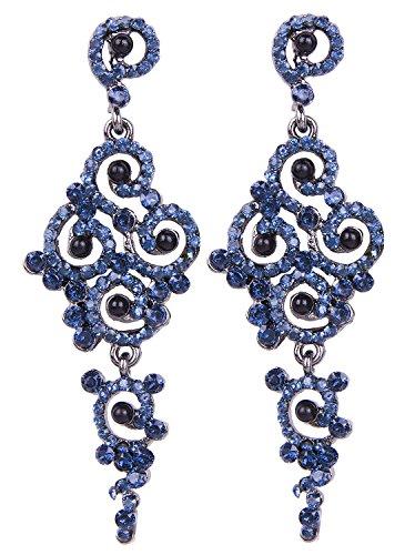 Vijiv Damen Gatsby Ohrringe Art Deco Vintage 1920er Flapper Schmuck Accessoires Partei einheitsgröße blau