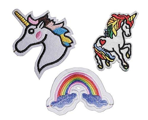 Conjunto de 3hierro en/coser en parche bordado Applique bordado de corazón única de transferencia de diseño de animales, unicornio, Rainbow