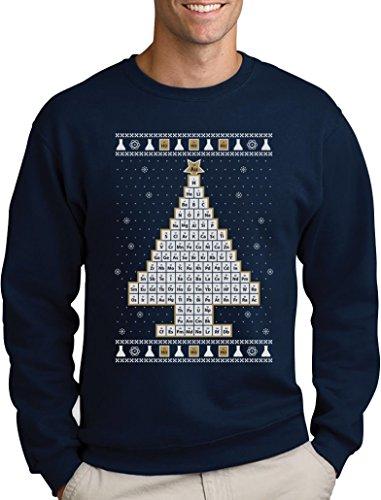 Green Turtle T-Shirts Periodensystem Weihnachtsbaum Ugly Christmas Weihnachtspullover Sweatshirt Small Marineblau