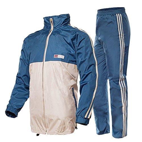 Outdoor Peak Motorrad Regenmantel Fahrrad Regenmantel regen Hosen Jacke anzug für Herren damen sport (Blau, XXL 170~175 cm 70 ~79kg)