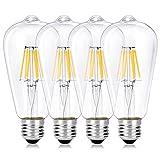 Wedna 4er Pack E27 Vintage Edison LED Glühbirne, ST64 Antike LED Filament Lampe Ersetzt 60W (6W, 2700K Warmweiß, Nicht dimmbar) Ideal für Nostalgie und Retro Beleuchtung
