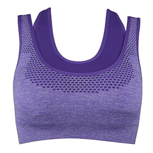 Femmes Double Couche stretch Fitness Yoga Soutien-gorge de sport Dos nageur sans coutures High Impact Violet - Violet