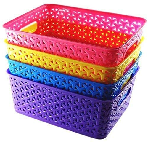 Xllent®Multi Color Set of-4 Storage Basket for Multipurpose Use/Fruit & Vegetable Basket/Storage Basket/Makeup Organiser/Size in cm {26 + 20+ 11}