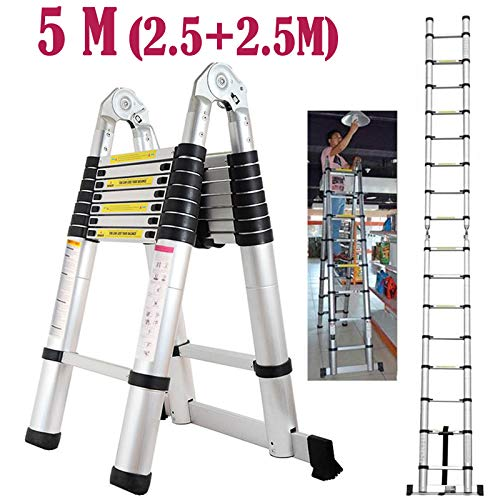 Autofather 5m A-Frame Aluminium Teleskop Leiter Faltbar Ausziehbar Loft Dachgeschossleiter Mehrzweck-16Stufen