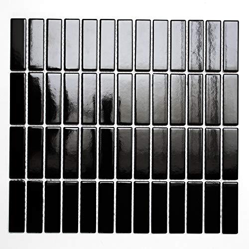 Mosaikfliesen Fliesen Mosaik Küche Bad WC Wohnbereich Fliesenspiegel Keramikmosaik Stäbchen Schwarz glänzend Boden 6mm #K216 -