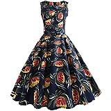 Kleider Damen Abendkleid Ballkleid Cocktail Party Swing Rockabilly 1950er Vintage Elegant Hepburn Hochzeit Spitzen Brautjungfern, Buntes Regenbogen Druck Ärmellos Kleid(14,Large)