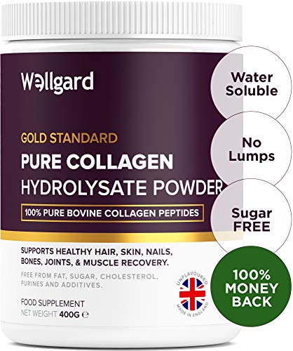 Collagen Powder, Gold Standard Bovine Collagen Peptides Powder by Wellgard - Higher Levels of The 8 Essential Amino Acids Than Other Collagen Supplement, Made in UK