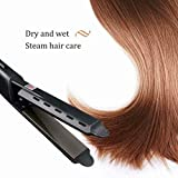 Asciugacapelli in un solo passaggio e ferro arricc piastre for capelli, piastre for capelli in ceramica tormalina for levigatura e riccioli con temperatura regolabile, scivolata liscia for tutti i tip