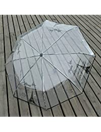 Ayygift Mujer Transparente plegable Paraguas Lluvia Paraguas de la torre Eiffel