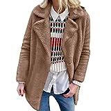i-uend 2019 Damen Mantel,Mode Künstlicher Warme Bluse Herbst Solide Beiläufige Wollmantel Jacke Revers Winter Oberbekleidung