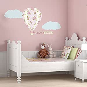 Personalised vintage hot air balloon wall sticker (Large size)