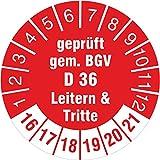 100 Stück geprüft gem. BGV D 36 Leitern & Tritte rot 2016-2021 Prüfplakette 30 mm Durchmesser Prüfplakette Prüfetikett Prüfaufkleber selbstklebend auf Rolle