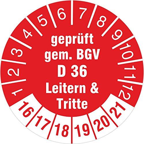 100 Stück geprüft gem. BGV D 36 Leitern & Tritte rot 2016-2021 Prüfplakette 30 mm Durchmesser Prüfplakette Prüfetikett Prüfaufkleber selbstklebend auf Rolle (Leiter 30)