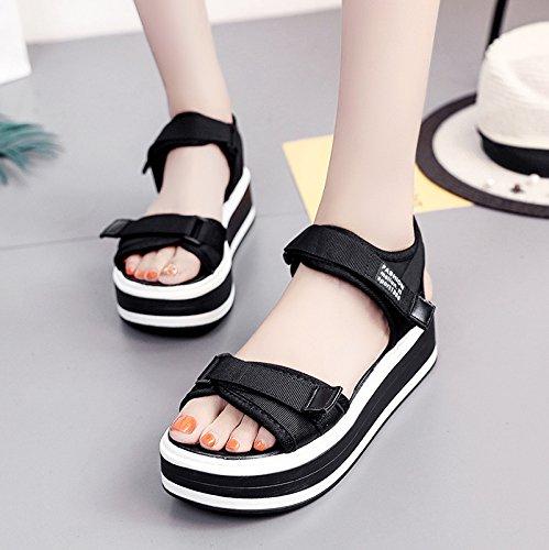 Lgk & fa estate sandali spessa suola sandali da donna estate piatto scarpe casual all-match Black