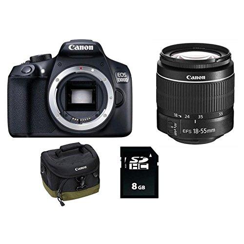 "Canon EOS 1300D - Cámara réflex de 18 Mp (pantalla de 3"", Full HD, 18-55 mm DC, NFC, WiFi), color negro - Kit con objetivo EF-S 18-55 mm DC III, tarjeta SD de 8 GB y funda"