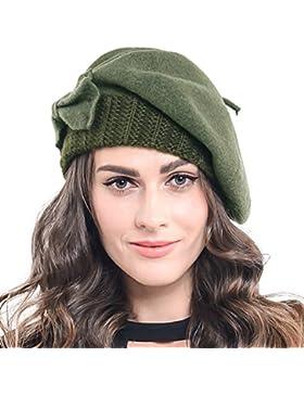 Trendy para mujer 100% lana boina Knit Cap con arco en 10colores