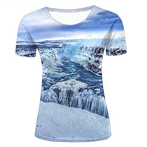 WEIYI BO para Mujer 3D Printed Casual Summer Tees Shirts Winter Snow and Waterfall Graphic Crewneck Short Sleeve T-Shirts XXL