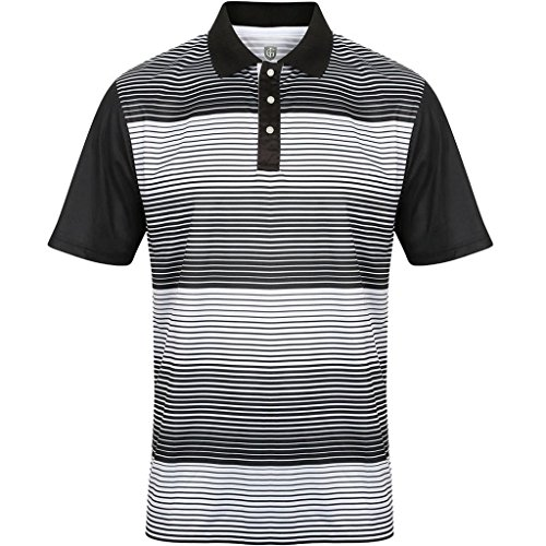 """NEW 2017"" ISLAND GREEN MINI STRIPE CoolPass® MENS GOLF PERFORMANCE POLO SHIRT (Black, Large)"