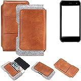 K-S-Trade für Cyrus CS 40 Gürteltasche Schutz Hülle Gürtel Tasche Schutzhülle Handy Smartphone Tasche Handyhülle PU + Filz, braun (1x)