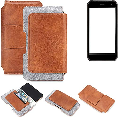 K-S-Trade Cyrus CS 40 Gürteltasche Schutz Hülle Gürtel Tasche Schutzhülle Handy Smartphone Tasche Handyhülle PU + Filz, braun (1x)