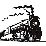 Tren de Vapor Blanco y Negro Pegatinas de Pared Adhesivos de Pared de Vinilo Decorativos Removibles para Cuarto de Niños, Sala de Estar, Dormitorio de Los Niños, Cuarto de Juegos para Niños Mural