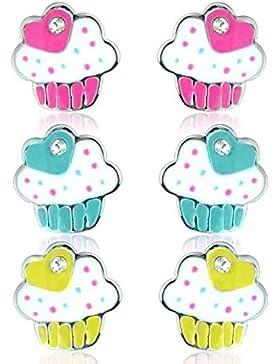 Cupcake Ohrringe, Set aus blauen, pinken und gelben Cupcakes - auch mit passender Kette und Ring erhältlich.