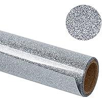 RUSPEPA 30.48 * 50Cm Glitter Flake Heat Transfer Vinyl Roll Para Camisetas, Bolsos De Ropa Y Otras Telas (Plata)
