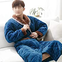TUJHGF Woman Autumn And Winter Paul Warm Three Thick Padded Home Service Robe Home Service,Blue-L