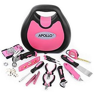 Apollo, 72-teiliges Werkzeugset für Frauen in Pink, magnetisches Handgelenkband mit superstarken Magneten zum Halten von Schrauben, Nägeln, Muttern, Bolzen und kleinen Werkzeugen, modische Tragetasche