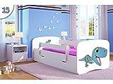 Kocot Kids Kinderbett Jugendbett 70x140 80x160 80x180 Weiß mit Rausfallschutz Matratze Schubalde und Lattenrost Kinderbetten für Mädchen und Junge - Dinosaurier 180 cm