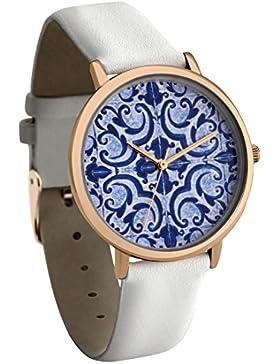 New Look Damen-Quarzuhr mit buntem Zifferblatt im Mosaik-Design, Analog-Anzeige, und weißes Kunstlederband 3659457