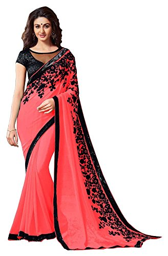 LAXMI FASHION Women's Georgette Saree (Pink)
