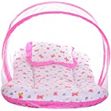 Littly Dual Color Bedding Set with Foldable Mattress, Mosquito Net and Pillow (Pink)