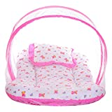 #5: Littly Dual Color Bedding Set with Foldable Mattress, Mosquito Net and Pillow (Pink)
