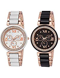 Maan Interantional Black & White Dial Analogue Criystal Mina Watch For Women & Girls
